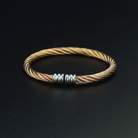 New Arrival Unisex Lovely Jewelry Promotion 24 K Gold Plated 316L Stainless Steel Cable Wire Cuff