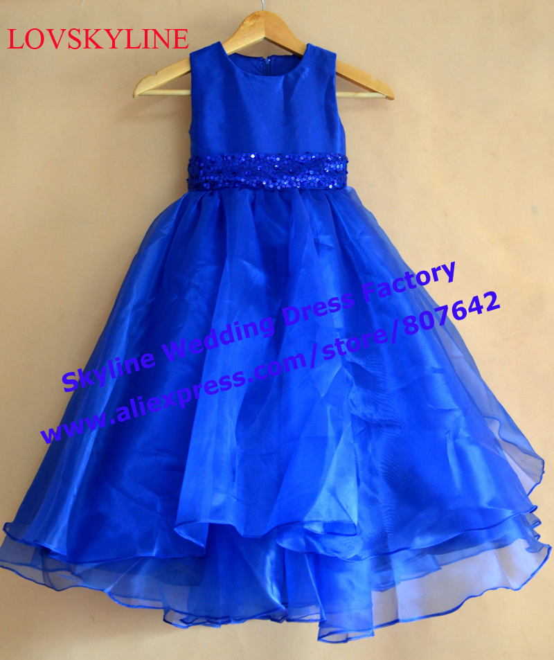 Real photo Custom 1-14 years Kids Blue Big Bow Sequined sashes Ball Gown 2018 top grade   Flower     Girl     Dresses     Girls   Pageant   Dress