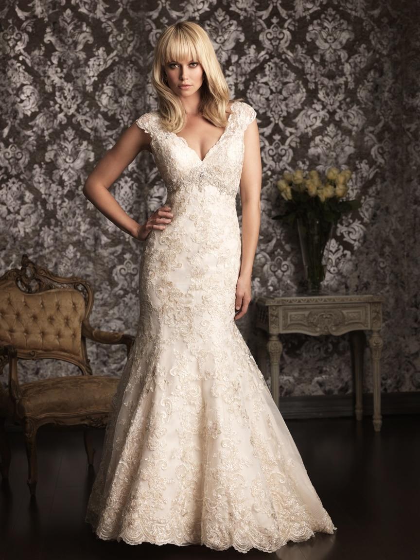Wedding Dress Patterns Beige All over Lace V neck Floor length ...
