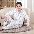 2016 Primavera Otoño Invierno Hombre 100% Algodón Pijamas Conjuntos de Sleepshirt & Pantalones Casuales Adultos Ropa de Dormir y Homeclothing Más Tamaño 4XL