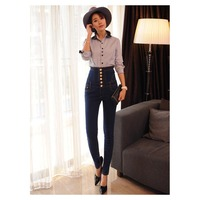 New Fashion Warm Velvet High Waist Jeans Women Thick Skinny Pencil Denim Trousers Slim Plus Size