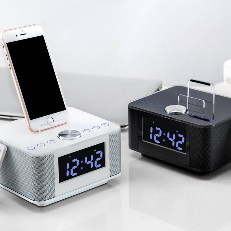 2016 nfc bluetooth speaker charging docking station for iphone and android with fm radio alarm. Black Bedroom Furniture Sets. Home Design Ideas