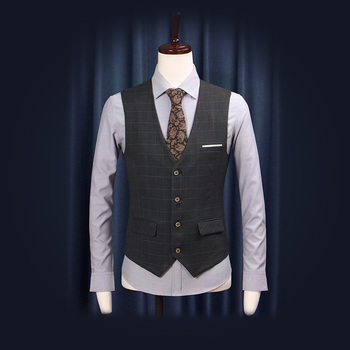 Free Shipping 2018 New Summer Autumn Wedding Groom Suits Vests Plaid Slim Casual Blazer Vest High Quality