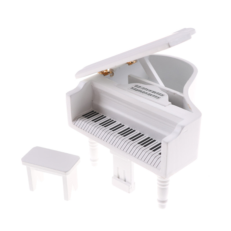 9x9x6cm 1:12 Dollhouse Miniature White Exquisite Wooden Grand Piano With Stool Model Play Music Instrument Toys Accessories