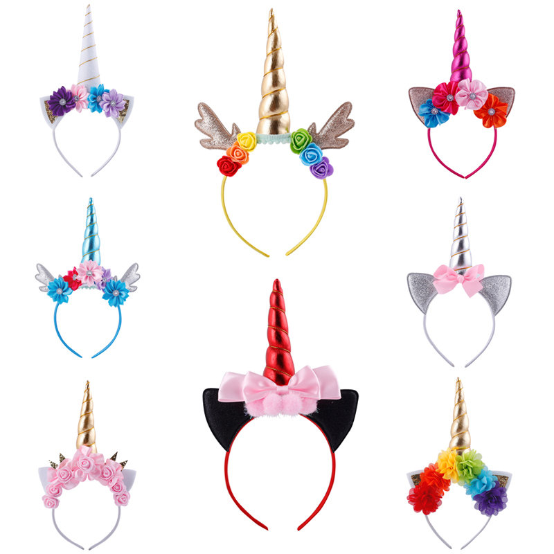 New Unicorn Flower Hairbands Lovely Girls Birthday Crown Head Hoop Glitter Horn antlers Headwear Fashion Kids Hair Accessories han edition of the new hair headwear pearl diamond hair hoop winding head band