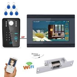7 cal przewodowy/bezprzewodowy Wifi hasło rfid wideo telefon drzwi intercom System wideodomofon z elektryczne strajk blokada