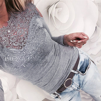 Hot Selling Lace Blouses Women Off Shoulder Shirt Sexy Lace Shirt Long Sleeve Slim Summer Street Wear Tops New Grace Female Tops