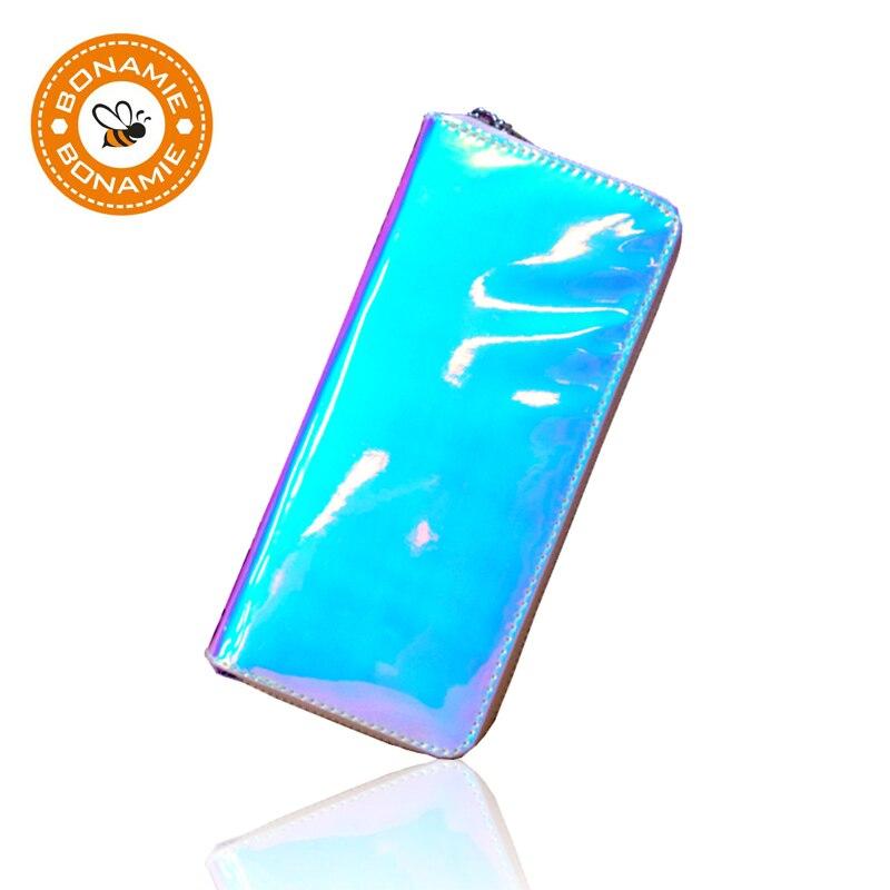BONAMIE Laser Leather Hologram Women Wallet Female Long Clutch Purse Personality Girl Wallets Creative Card Phone