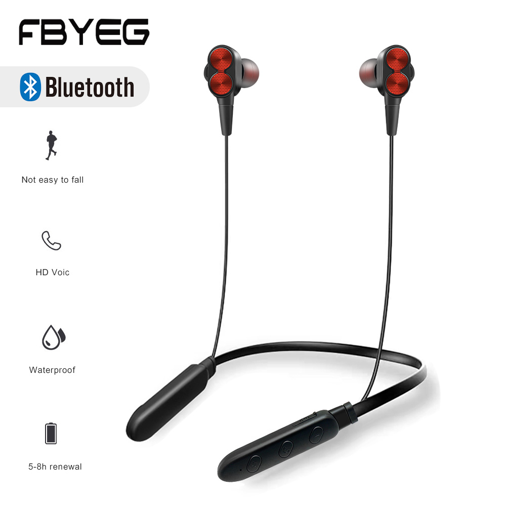 FBYEG B800 Bluetooth Headset Wireless Earphone Sweatproof Sport Headphone Stereo Bass earbud with Microphone for sleeping ASMR
