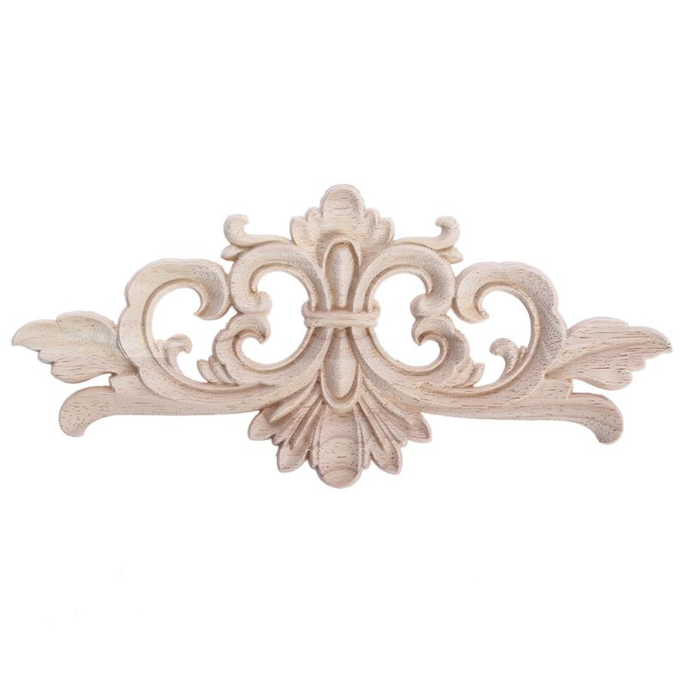 Carving Wood Decoration Wood Furniture Wooden Applique Decal Corner Applique Frame For Home Decoration