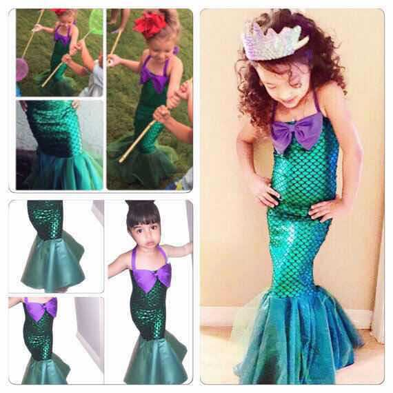3-13Y Children Halloween/Christmas Mermaid Cosplay Dress Green Mermaid Tail Costume For Girls Ariel Pricess Kids Fancy Dresses