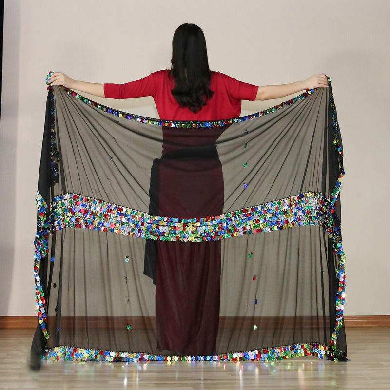 Belly Dance Silk Veils Hand Thrown Scarf Shawl 230cm*140cm Malaya Silk Veil 3 Color Sequins Belly Dancer Accessories For Women
