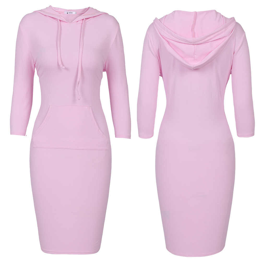 3XL Plus Size Hoodie Dress Women 3/4 Sleeve Autumn Hooded Sweatshirt Casual Pullover Striped Hoodies Womens Sportswear Tracksuit