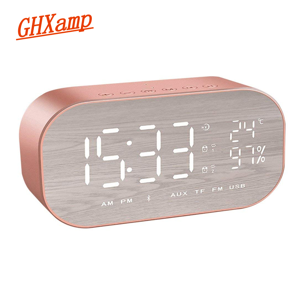 GHXAMP LED Digital Bluetooth Speaker Wireless With Alarm Clock FM Radio 1800mAh Strong Bass Temperature Time Display 1PC disun 3320 3w 2 1 ch 4 lcd sensing speaker w fm temperature time alarm clock blue white