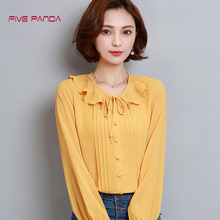 FIVE PANDA 2017 Casual Chiffon Women Blouse  Blusas Boho Korean Womens Shirt Fashion plus size Tops