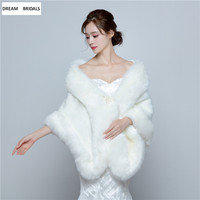 2018 New Arrival Winter Faux Fur Thick Warm Long Wraps Fashion Faux Fur Shawl Bolero Women Fur Bridal Wraps