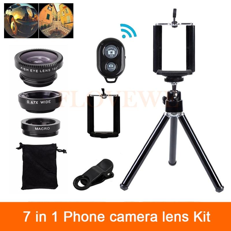 7in1 Camera Lenses Kit Wide Angle Macro Fish eye Lens For Mobile Phone Samsung Huawei Meizu Sony MOTO LG With Clips Mini Tripod