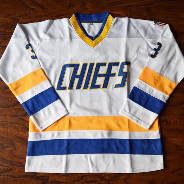 Custom Ice Hockey Jersey Dave Killer Carlson #3 Slap Shot Charlestown Movie Sweater Men Women Youth Kids Blue White EmbroideredCustom Ice Hockey Jersey Dave Killer Carlson #3 Slap Shot Charlestown Movie Sweater Men Women Youth Kids Blue White Embroidered
