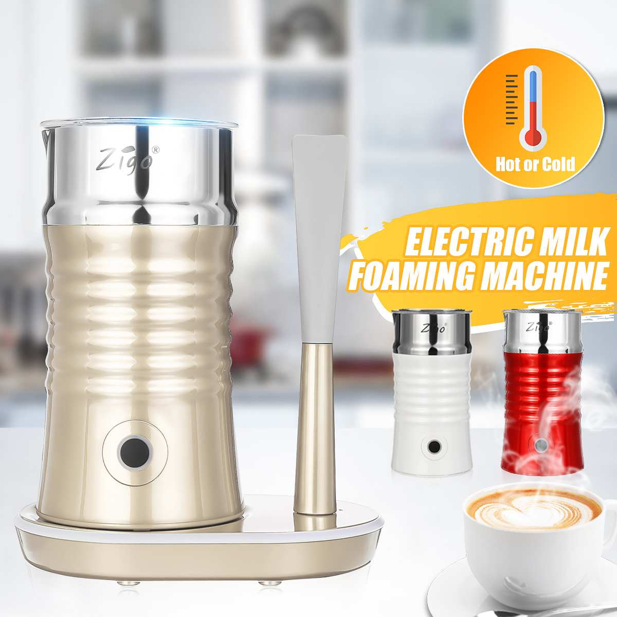 220V Electric Hot / Cold Milk Frother For Coffee Automatic Cappuccino Soft Foamer Electric Coffee Frother Whisk Mixer Stirrer