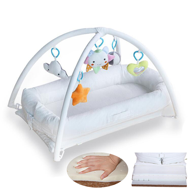 Baby Co-Sleeping Crib Musical Gym Developing Play Mattress Latex Mattress For Baby natural latex mattress comfort revolution hydraluxe gel memory foam mattress