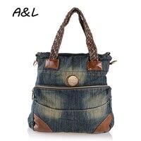 2016 Women Handbag Vintage Denim Shoulder Bags Large Capacity Jeans Crossbody Bag Knitted Casual Women Messenger