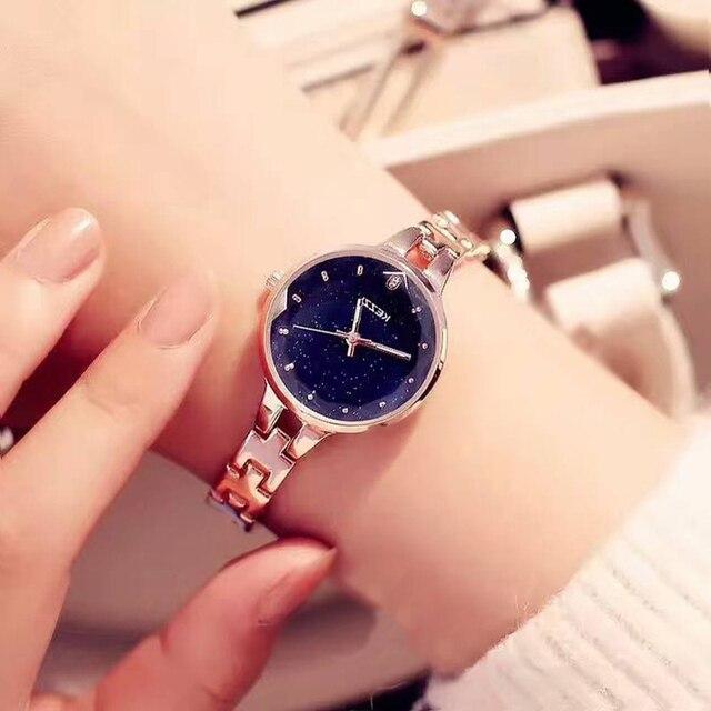 KEZZI Brand Women Stainless Steel Watch Ladies Crystal Bright Star Bracelet Watc