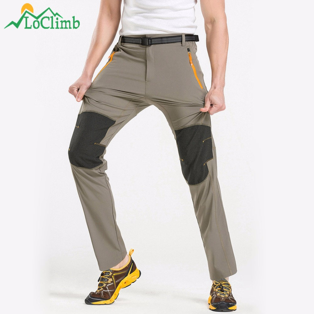 LoClimb Stretch Nylon Hiking Pants Waterproof Sping Summer Outdoor Sports Trouser For Men Camping Trekking Pants, AM029