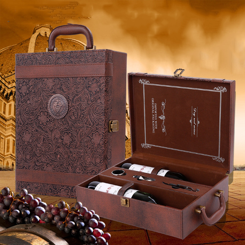 Creative Leather Wine Box Gift Box Handmade Home Kitchen Bar Accessories Decor Lafite Wine Holder Wine Packaging Box Friend Gift