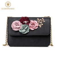 LUDESNOBLE Elegant Luxury Leather Bags Women Bags Designer Women Messenger Bags 2017 New 3D Floral Chains