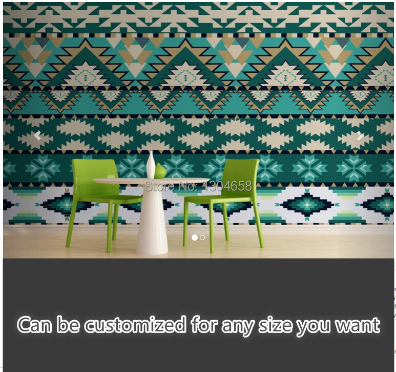 Free shipping custom large living room sofa bedroom wall mural wallpaper background Green Aztec Pattern Wall Mural silk fabric como vestir con sueter mujer