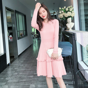 Image 5 - Elegant Women Sweater Dress 2018 Winter Solid ruffles Long Sleeve Sweater Dress Knee Length Female A Line Knitted Dress Vestidos