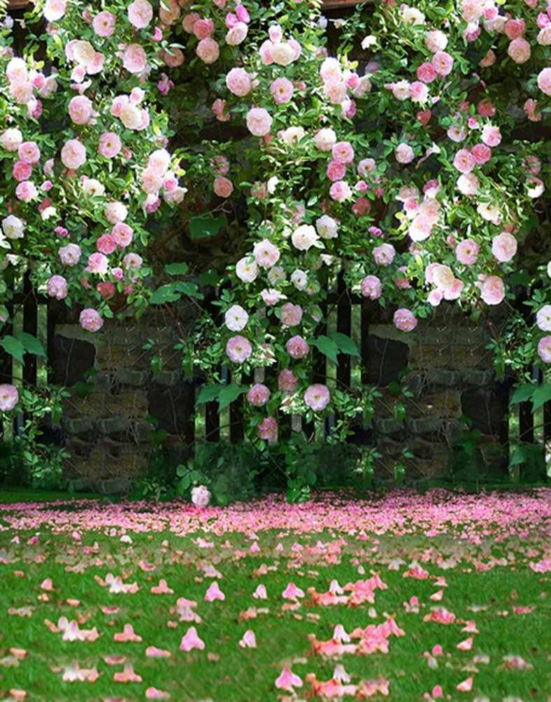Pink Rose Flowers Tree Photography Backdrops Photo Props Studio Background 5x7ft