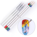 3Pcs Color Painting Drawing Brush & 3Pcs Liner Pen White Handle Manicure Nail Art Brush Set