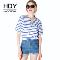 HDY Haoduoyi Brand Women Blue Stripe Lace Up T Shirt V Neck Short Sleeve Printed Female