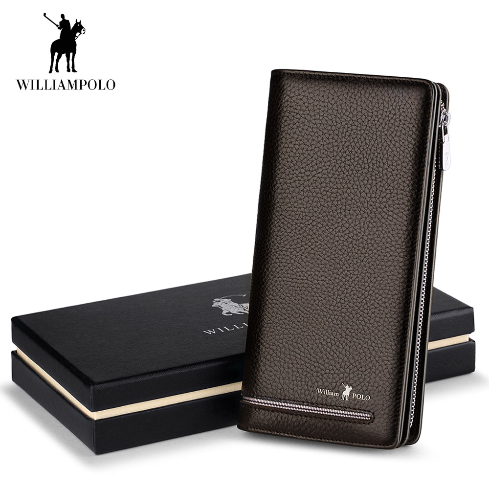 WilliamPOLO Wallet Male Genuine Leather Luxury Brand Men Zipper Wallets Long Men Clutch Business For Credit Card Holder Purse все цены