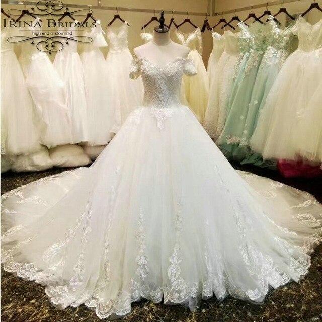 4b015783d0e Bruidsjurken реальные фотографии короткий рукав Кружево аппликации  Роскошные длинным шлейфом бальное платье свадебное платье