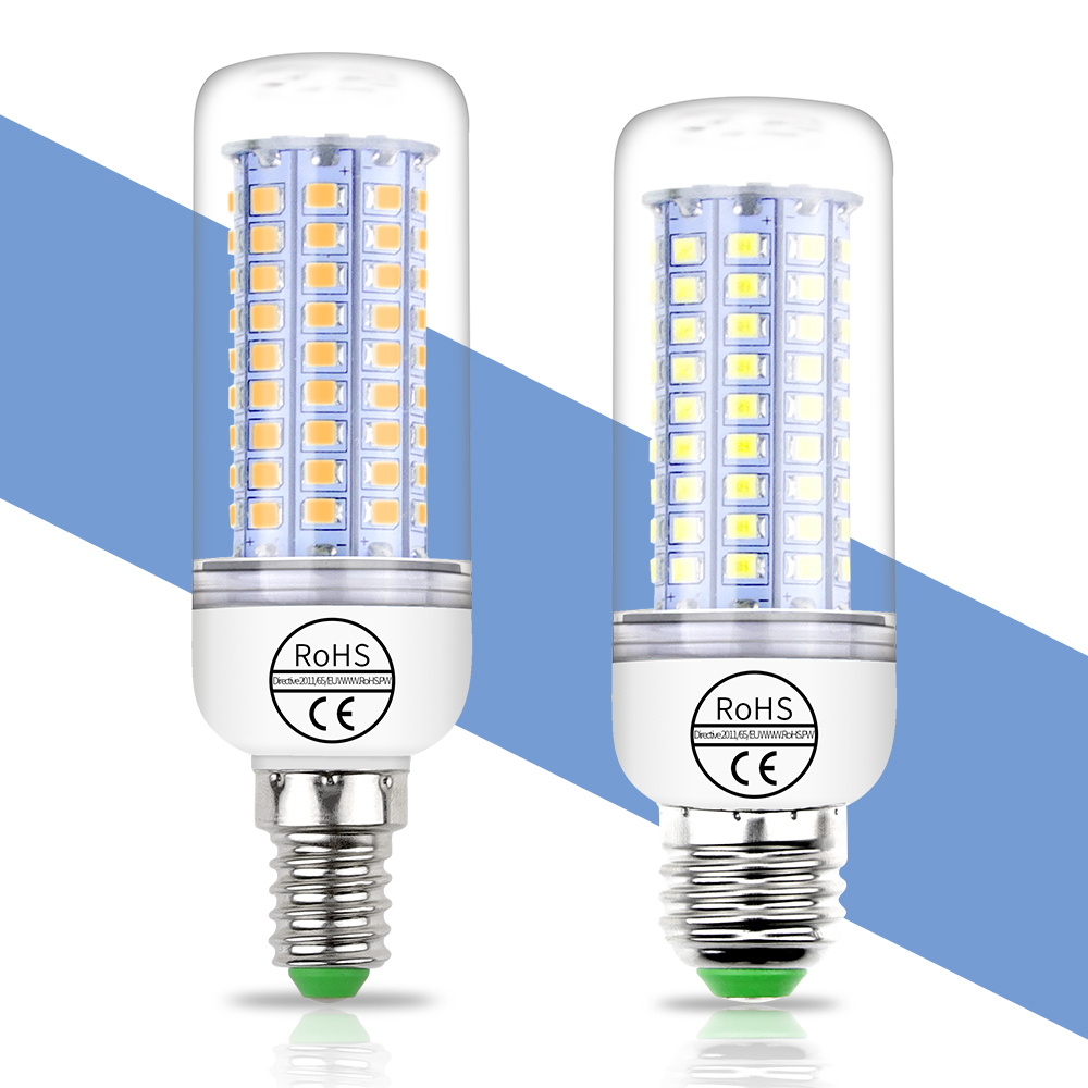E27 LED Lamp E14 Corn Bulb GU10 5730 SMD 2835 Lampka LED Candle Bulb 220V Energy Saving Light 24 36 48 56 69 72 89 102leds Ampul