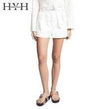 HYH Haoyihui Femme Summer Stylish Elegant Office Lady Simple Pleated Sashes Pockets Mid Drawstring Casual Sheer White Shorts boxed pleated grommet drawstring shorts