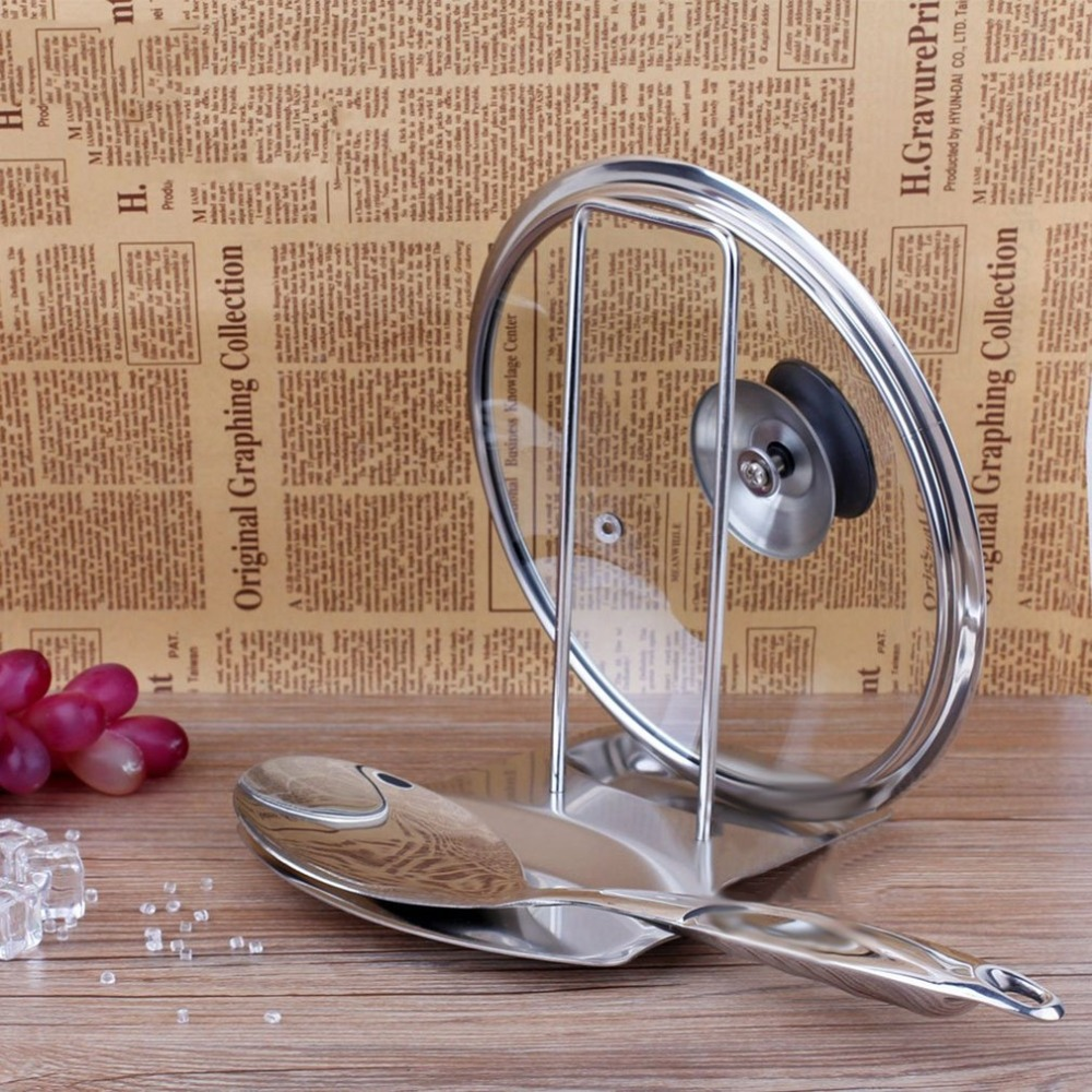 Stainless Steel Pan Pot Cover Lid Rack Stand Spoon Holder Rests Clips Kitchen Cooking Storage Organizer Accessories