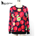 Fashion Autumn Women Hoody Red Strawberry 3D Digital Printed Sweatshirts Long Sleeve  Feminino MoletonsWYS1022
