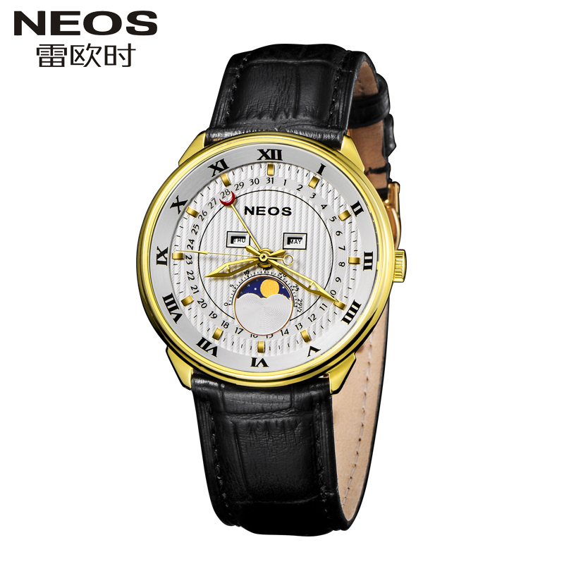 Здесь можно купить   NEOS Brand Rome calendar Week Moonphase Leather Watch Men Multifunctional Fashion Waterproof Quartz Male Hot Watch  Часы