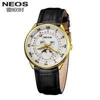 NEOS Brand Rome calendar Week Moonphase Leather Watch Men Multifunctional Fashion Waterproof Quartz Male Hot Watch