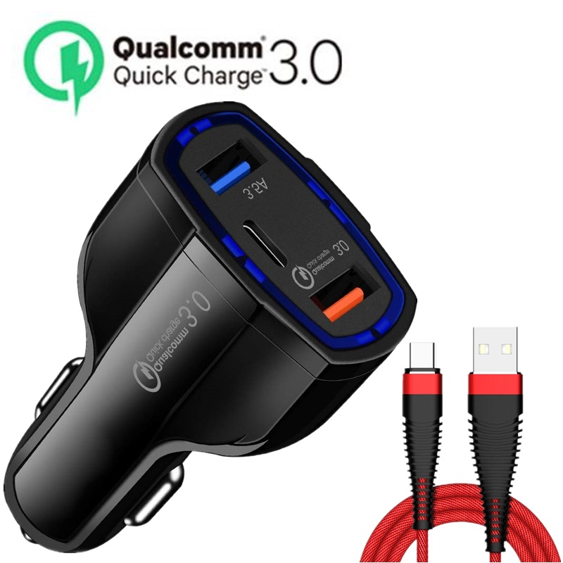 Quick Charge 3,0 Автомобиля Зарядное устройство USB C PD Порты и разъёмы 3.5A для iPhone X 8 плюс мобильный телефон быстро Зарядное устройство для samsung S8 Cargador...