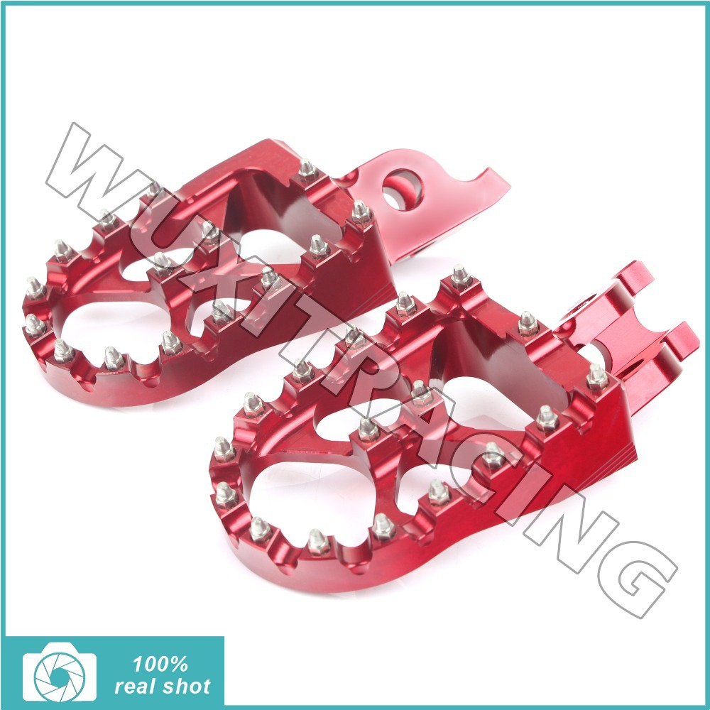 RED New MX Motocross Wide Fat Footpegs Footrests Honda CR125 250 CRF 150 450 02 03 04 05 06 07 08 09 10 11 12 13 14 15