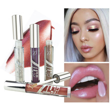 ZD 6 Colors Liquid Crystal Glow Lip Gloss Glitter Tattoo Eye Shadow Lipstick Long Lasting Pigment Lips Makeup G5030
