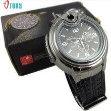 New Unique Design Watches Men Military Lighter Clocks Quartz Refillable Butane Gas Cigar Watch Creative Relojes Hot Apr25