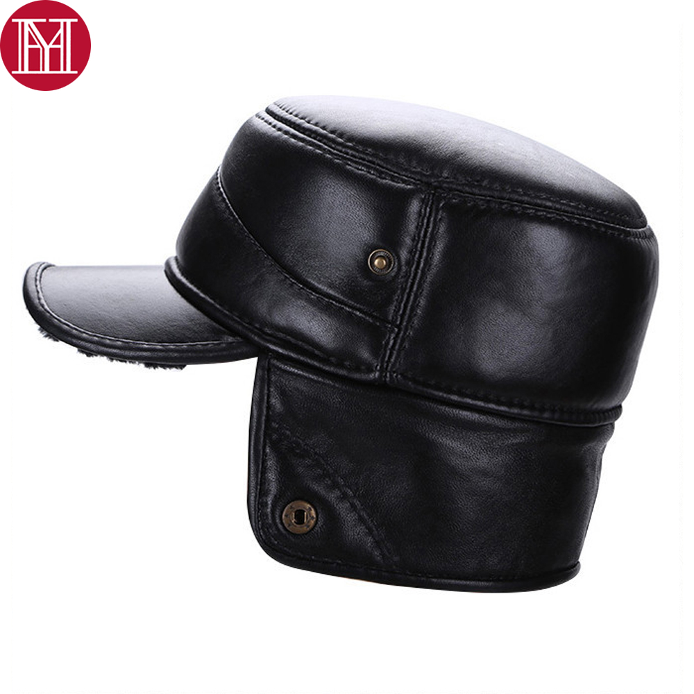 ef7a8d9392a VOBOOM Black Sheepskin Hat Cadet Cap Men Genuine Leather Daddy Driver Thermal  Ear Protection Warm Male ...