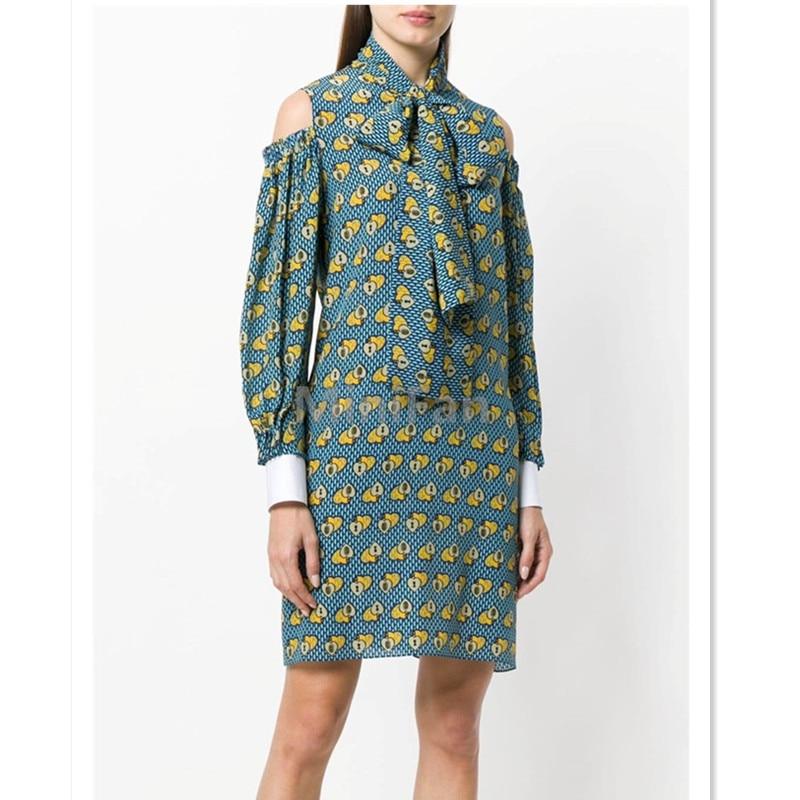 Vestido de marca de diseñador de lujo para mujer vestido de gasa Floral con cuello de lazo y hombros descubiertos-in Vestidos from Ropa de mujer    1