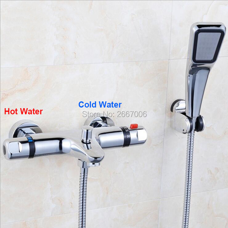 Free shipping Brass Bathroom set Thermostatic Faucets Set wall mounted washroom shower set valve mixer tap ZR992 free shipping new arrival brass chrome bathroom luxury wall mounted thermostatic mixer valve rain shower mixer set