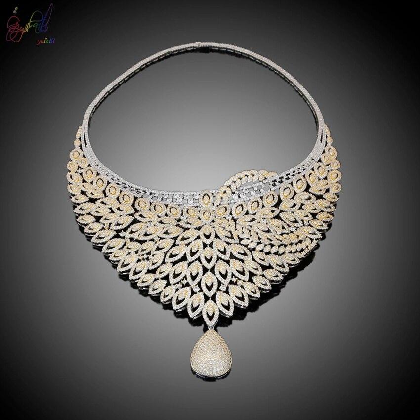 Yulaili nouveau européen américain femmes mode bijoux pendentif cristal collier Bracelet anneau boucles d'oreilles ensembles de bijoux - 3